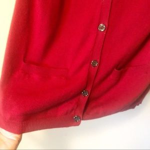 Burberry Sweaters - Burberry Cashmere Blend Parade Red Cardigan